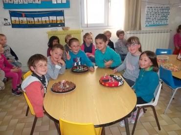 On a fêté l'anniversaire d'Achille, Paul, Alicia, Marie et Matéo